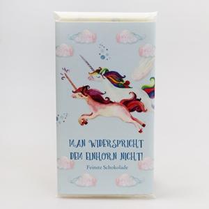 """""""Man widerspricht dem Einhorn nicht!"""" Einhorn Vollmilchschokolade"""