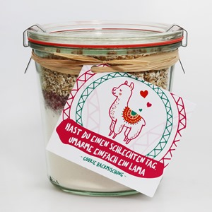 """Happy Animals Cookies Backmischung """"Hast du einen schlechten Tag, umarme einfach ein Lama"""""""