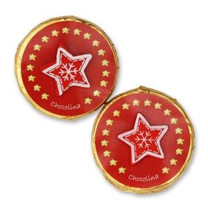 Chocotaler dekoriert mit rotem Stern