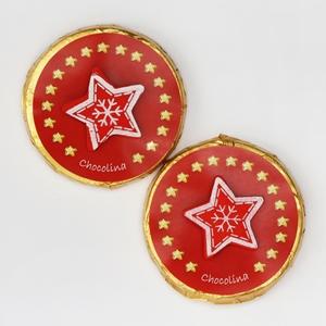 Chocotaler dekoriert mit Stern rot