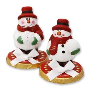 Chocotaler dekoriert mit Schneemann