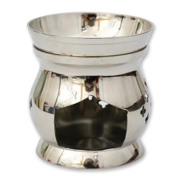 Weihrauchgefäß 8,5cm Messing vernickelt, für Teelicht