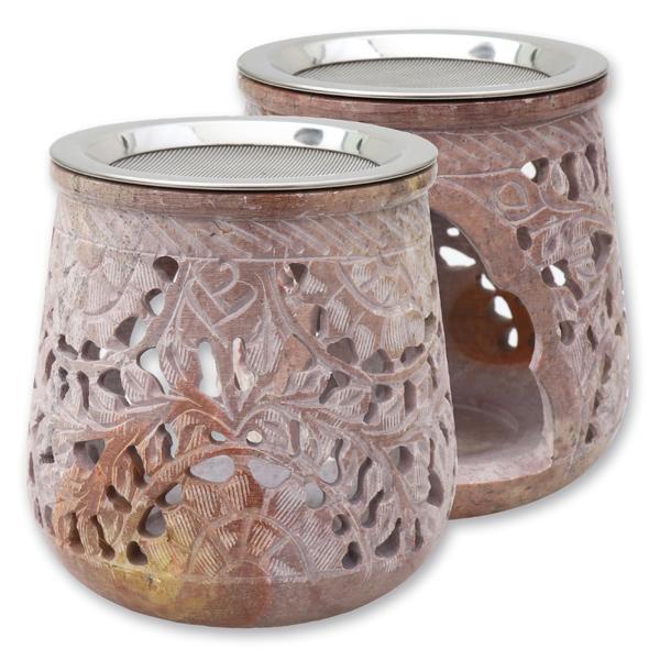 Weihrauchgefäß Speckstein bauchig mit Sieb rosa-creme, für Teelicht