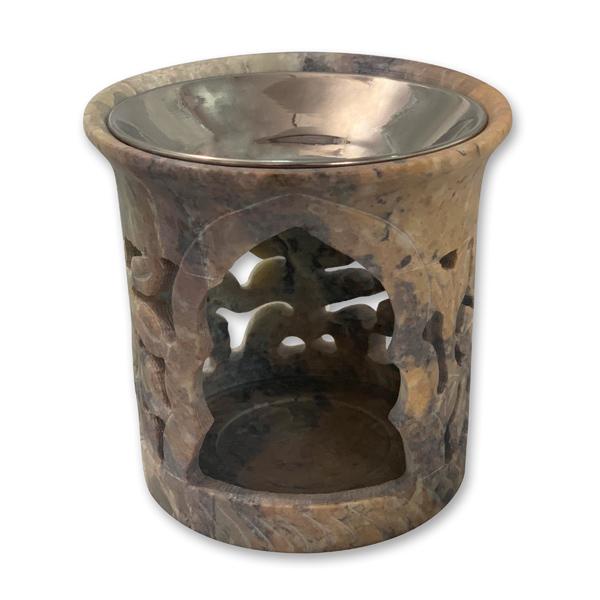 Weihrauchgefäß 9cm Speckstein mit Schale, für Teelicht