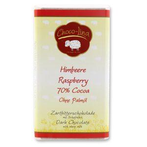 70% Zartbitterschokolade mit Schafmilch und Himbeeren - palmölfrei